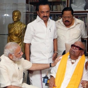 PM Modi Meets Kalaignar Karunanidhi And Stalin In Chennai