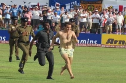 Streaker run naked during test match in Sri Lanka Cricket ground